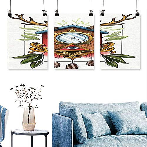 SCOCICI1588 3 Panel Canvas Wall Art  Surreal Paint Ancient Clock with Eye Sign and Reindeer Antlers Odd Print On Canvas No Frame 16 INCH X 40 INCH X 3PCS