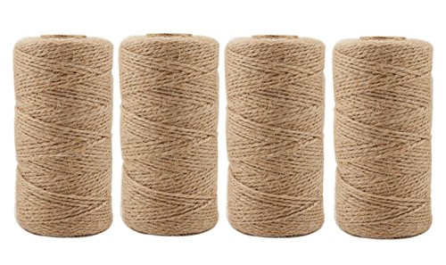 Jute Twine 1312 Feet 2mm 3Ply Natural Arts Crafts Jute Rope Durable Packing String for Gardening Applications(4pcs x 328feet) by ILIKEEC