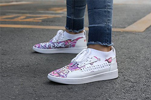 Soulsfeng Graffiti Skater Shoe Kuji Unisex Skating Board Shoes Flynit Lace up Sports Casual Sneakers White (Summer) yDgz6U9nb