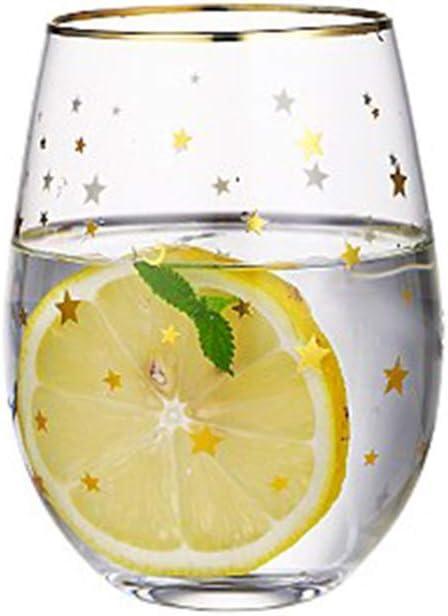ZHAOOP Star Print Glass mug Wine Glass with Gold Rim Glass Water Glass Milk Glass