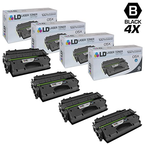 LD © Compatible Replacements for Hewlett Packard CE505X (HP 05X) Set of 4 High Yield Black Laser Toner Cartridges for use in HP LaserJet P2055d, P2055dn, and P2055X Printers