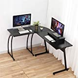 DOSLEEPS Computer Desk, L-Shaped Large Corner PC Laptop Study Table Workstation Gaming Desk for Home and Office - Free Monitor Stand - Wood & Metal - Black Wood Grain