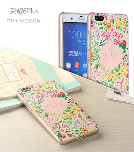 For HUAWEI HONOR 6 PLUS,DAYJOY Unique Design Ultra Thin Aluminum Alloy Protective Metal Frame Bumper case With Relief 3D Painting Design Acrylic PC Back Cover Shell + 1PC tempered glass screen protector film for HUAWEI HONOR 6 PLUS (B)