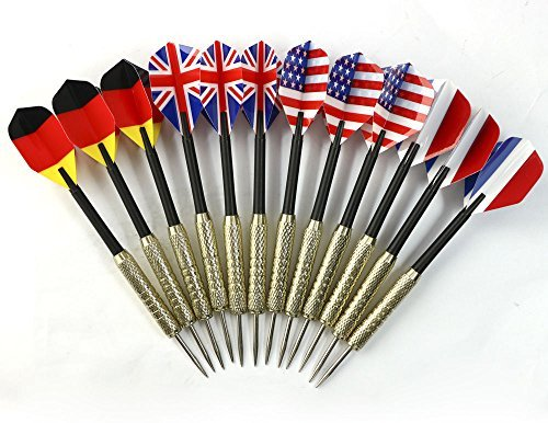 [12 pcs (4 sets) Steel Needle Tip Dart Darts With National Flag Flight Flights] (Pictures National Costumes Different Countries)