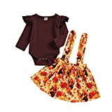 LNGRY Baby Outfits,Toddler Infant Kid Girls Ruffle Romper+Turkey Strap Skirts Thanksgiving Costume