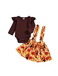 Hot Sale!!Christmas Thanksgiving Newborn Infant Baby Girl Flare Sleeve Ruffle Romper Tops+Strap Tutu Skirts Outfits Set