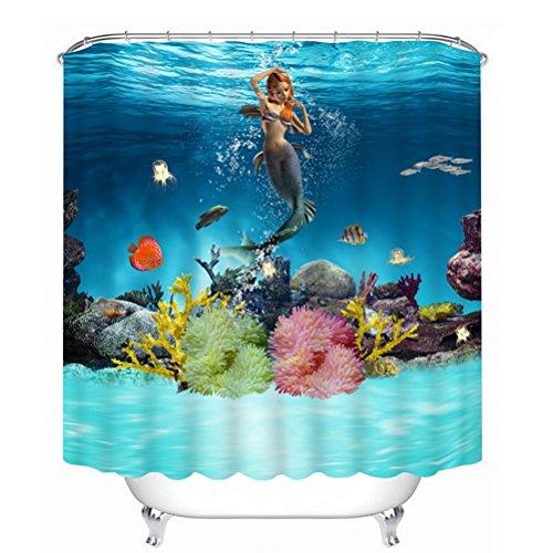 Perfect Morning Sunshine Underwater World Ocean Deep Sea Beautiful Mermaid Art Shower  Curtain Heavy Duty Waterproof Polyester Fabric Bath Curtain (60Wx72H)