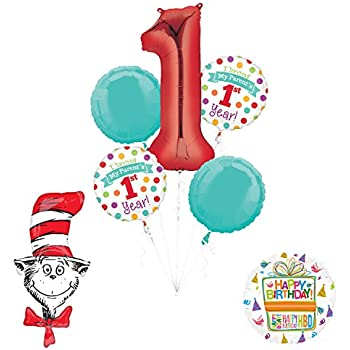 """Dr Seuss """"I Survived My Parents First Year"""" 1st Birthday Party Supplies and Balloon Decorations"""