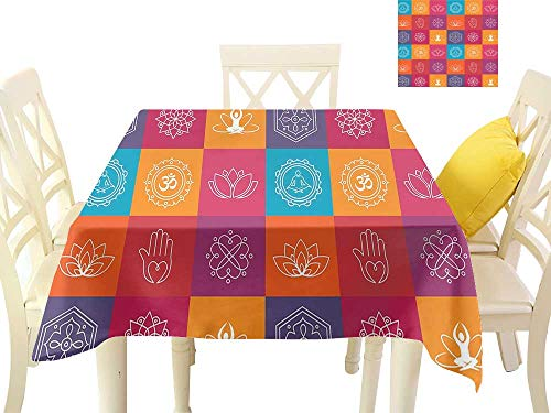 W Machine Sky Polyester Tablecloth Yoga Colorful Collection of Yoga Icons and Relaxation Symbols Wellness Harmony Health Zen W54 xL54 Suitable for Buffet Table, Parties, Wedding