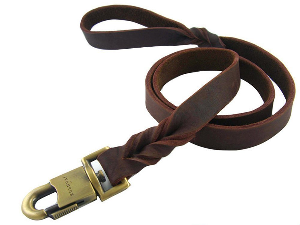 3 FT Rantow Durable Leather Pet Trainning Leads Rope for Medium Dogs or Large Dogs 1 Inch Wide and 3 to 5ft Long Beautiful Braided Handmade Brown Leather Dog Leash (3 FT)