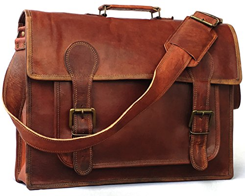 Vintage Couture 18 Inch Genuine Business Leather Laptop Messenger (Leather Messenger Laptop Bag)