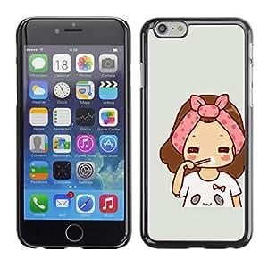 TopCaseStore / la caja del caucho duro de la cubierta de protección de la piel - Art Pink Grey Drawing Sweet Baby Mother - Apple iPhone 6 Plus 5.5