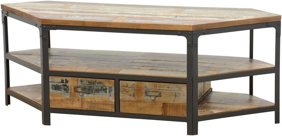 Nomadde Industriel Wolof - Mueble esquinero para TV con 2 cajones (Acabado Reciclado Colorido, Caucho y Hierro): Amazon.es: Hogar