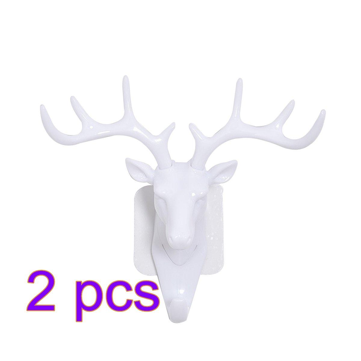 Hmane 2 Pcs Wall Hanger Creative Deer Head Antlers Shape Wall Hanger Coat Hat Hook Home Decor - (Black)