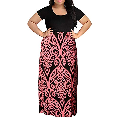 (Plus Size Maxi Dress Women's Chevron Print Summer Short Sleeve Plus Size Casual Long Dress Round Neck Boho Dresses Pink)