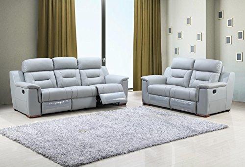 Blackjack Furniture 9408-GRAY-2PC Sofa Set Leather Match Sof