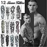 Temporary Tattoos Full Arm and Leg Long Sleeve Tattoo Body Art - For Adults and Teens (Dark)