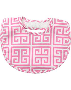 Baby-Girls Newborn Pink Greek Key Bib