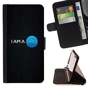 BullDog Case - FOR/Apple Iphone 5 / 5S / - / pro am quote professional motivational /- Monedero de cuero de la PU Llevar cubierta de la caja con el ID Credit Card Slots Flip funda de cuer