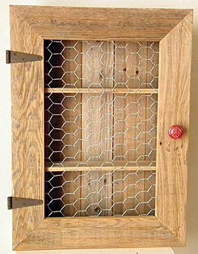 Country Cabinet. Rustic Spice Cabinet with Chicken Wire and Red Distressed Knob. Country Kitchen Cabinet