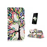 Case For LG K8 2017 [With Tempered Glass Screen Protector],Fatcatparadise Soft Silicone Back Cover Case ,Colorful Pattern Design Flip PU Leather Credit Card Folio Holder Case For LG K8 2017(Life tree)