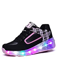 Ufatansy Uforme Kids Boys Girls Breathable Shoes Flashing LED Light up Sneakers Single Wheel Roller Skate Shoes