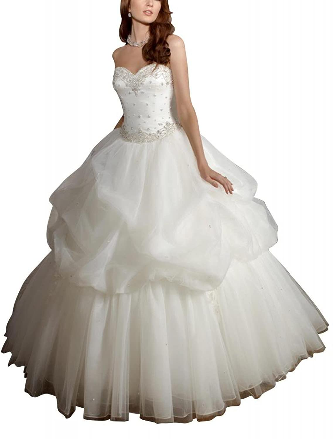 GEORGE BRIDE Beaded Sweetheart Tiered Organza Over Satin Ball Gown Wedding Dress