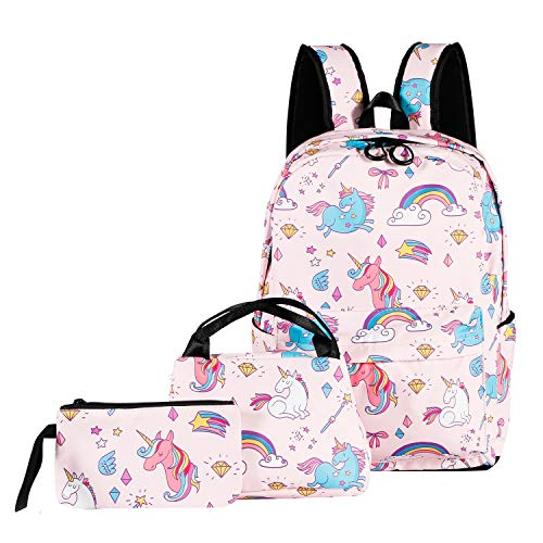 ABage Unisex Unicorn School Backpack Set 3 Pieces Patterned Bookbag Laptop Daypack With Lunch Bag Pencil Case, Pink