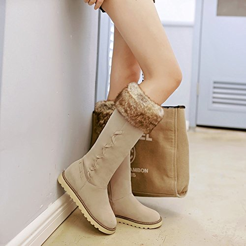 Weather Snow Latasa Faux Hair Boots Tall Flats Winter Women's Beige Cold Cw0fwXq