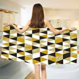 smallbeefly Gold and White Bath Towel Bronze Geometric Triangles Pattern in Different Sides Image Bathroom Towels Yellow White and Black Size: W 27.5'' x L 65''