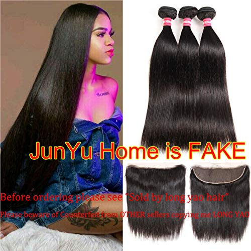 Brazilian Straight Hair 3 Bundles With Frontal Closure 13×4 Ear To Ear Lace Frontal With Bundles 100% Unprocessed Virgin Human Hair Extensions Weave Natural Color (22 24 26 +20 Frontal) 100% Human Hair Weave