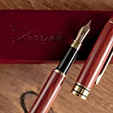 ZenZoi Burgundy Wood Fountain Pen – Medium Nib Handcrafted Calligraphy Stylograph Pens, Includes Ink Refill Converter & Wooden Gift Box Case