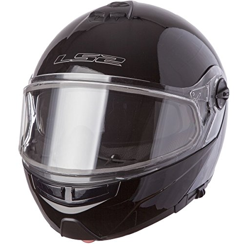 LS2 Helmets Strobe Solid Modular Snow Helmet with Dual Pane Face Shield and Sunshield (Black, Large)