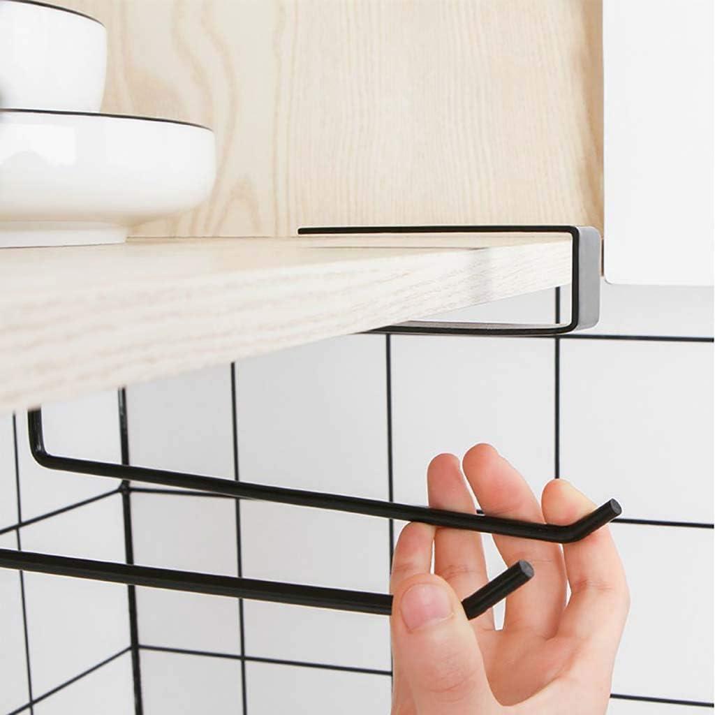 For 3cm Thickness Cabinet Kitchen Decorative Accessories Black No Drilling Large Paper Roll Rack Tissue Hanger Paper Towel Holder Under Cabinet Mount Shelf Dispenser Matte Black Finish Iron