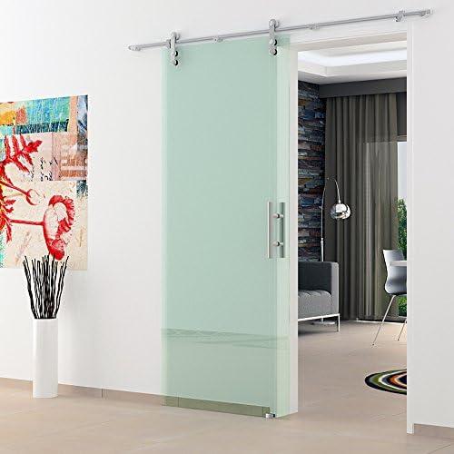 Correderas de cristal de puerta de 775 x 2050 mm de vidrio transparente Levidor acero inoxidable-sistema completo con abierto en ruedas y barras de mango puerta corredera de vidrio para uso en