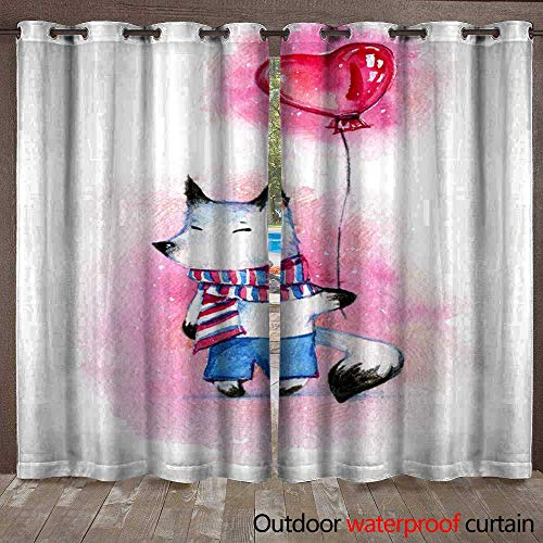 BlountDecor Door/Gazebo Curtain Little White Cartoon Fox in Striped Scarf and Trousers with Heart-Shaped Balloon on Pink SPO Waterproof CurtainW108 x - Trousers City Suit