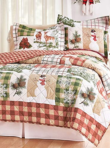 Holiday Home Rustic Woodland Patch Christmas Themed 3pc Full/Queen Size Quilt Set with Snowmen, Poinsettias, Snowflakes, Deer & -