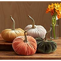 Velvet Pumpkins Set of 4 Includes Harvest Gold Taupe and Olive, Handmade Home Decor, Holiday Mantle Decor, Fall Halloween Thanksgiving Centerpiece, Rustic Fall Wedding Centerpiece Decor