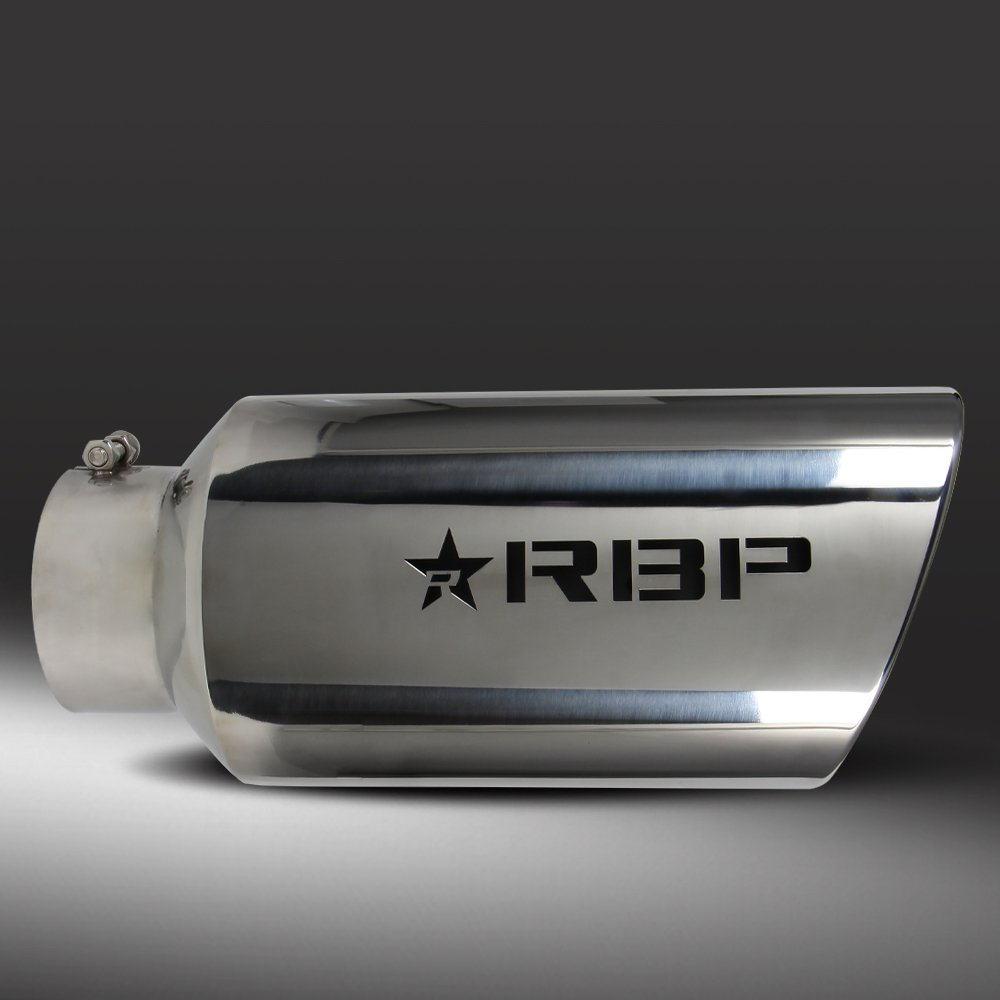 """RBP RX-7 Universal 3.5/"""" Inlet 4.5/"""" Outlet Stainless Steel Red Logo Exhaust Tip"""