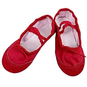 BAOHULU Baby Girls' Soft Dance Shoes Canvas 30(inside 19cm) Red