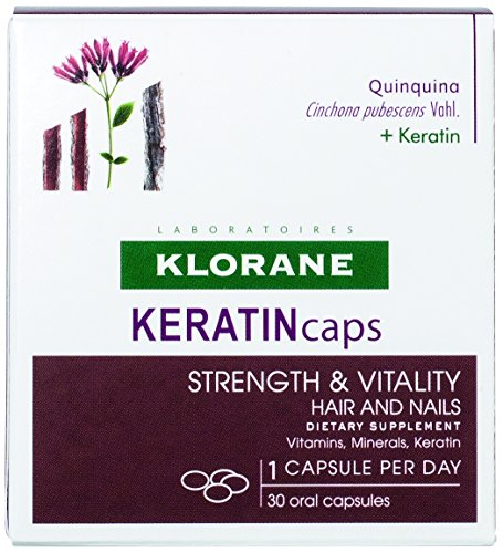 Klorane KERATINcaps Dietary Supplements with Biotin, Quinine, B Vitamins for Thicker, Stronger Hair & Nails, Caffeine-Free, 30 Day ()