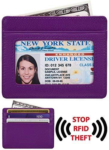 - KALMORE Unisex-Adult's Petite Credit Card Holder Leather Slim Minimalist Wallet, Purple With Id window, Classic