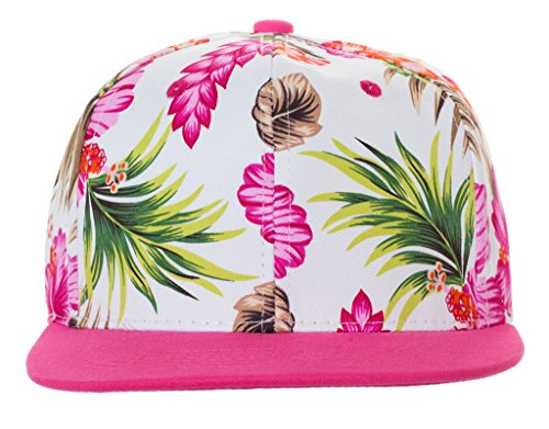 Artisan Owl Floral Pattern Snapback Baseball Caps - Available in Multiple Colors! (White Floral with Pink - Floral Snapback Men's