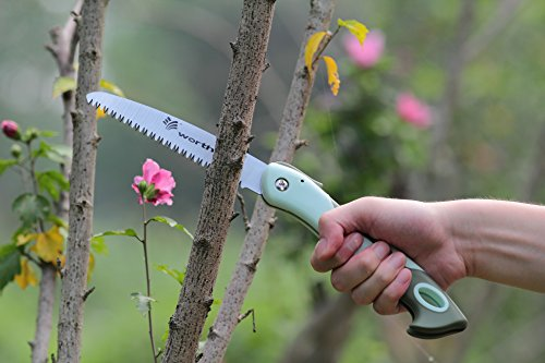 Worth Garden Ergonomic Hand Pruning Folding Saw Pruner w/ 6 Inches 10 Inches Stainless Japanese SK5 Steel Blade 'N 3-sided Razor Tooth Design, Green (6 Inches (English Garden Medallions)
