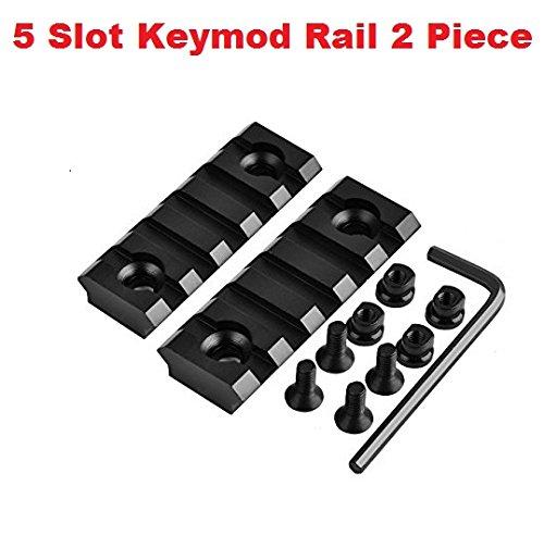 360 Tactical 5 Slots key mod Rail Section For Keymod Handguard Five Slots Keymod Rail Picatinny Rail Set Of 2 ()