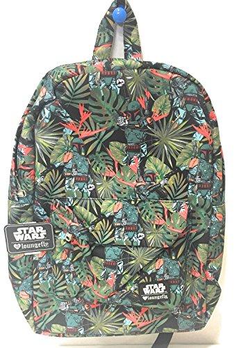 Fett Backpack - Loungefly Star Wars Boba Fett Bright Leaves Print Laptop Backpack (Green(Grn)) STBK0058