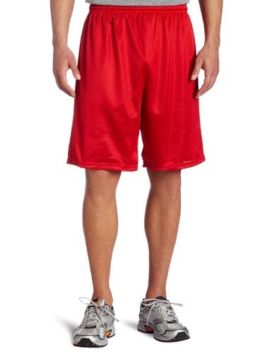 Soffe Men's Long Polyester Mini-Mesh Short Red  ()