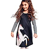 PRINCER Toddler Baby Kid Girl Cute Cartoon Animal Printed Long Sleeve Dress Casual Striped Print Sleeve Cotton Dress Fashion Patchwork Autumn Princess Party Dress (Navy, Size:2T/Height:100CM)