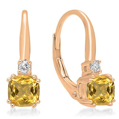 Dazzlingrock Collection 14K Each 5 MM Cushion Gemstone Round White Diamond Ladies Dangling Drop Earrings, Rose Gold