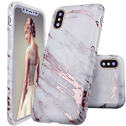 DOUJIAZ iPhone Xs Case,iPhone X Case, Shiny Rose Gold Metallic White Marble Design Clear Bumper Glossy TPU Soft Rubber Silicone Cover Phone Case for iPhone X/XS 2018 5.8 inch